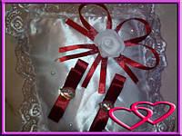 """Свадебные подушечки для колец """"Роза со сверкающими камнями"""" Бордовый"""
