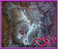 """Свадебные подушечки для колец """"Роза со сверкающими камнями"""""""