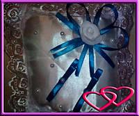 """Свадебные подушечки для колец """"Роза"""", цвета в ассортименте Голубой"""