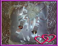 """Свадебная подушечка для колец """"Букет со сверкающими камнями"""""""