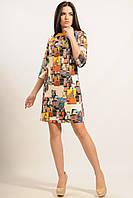 Женское платье ВОЛНА-ПИКАССО горчица ТМ Ри Мари  42-52 размеры
