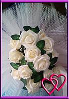 Свадебные нарядные букеты на машину розы,сетка,фатин Молочный