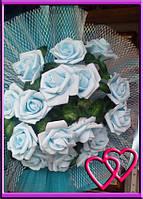 Свадебные нарядные букеты на машину розы,сетка,фатин Бирюза