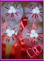 Свадебное украшение на ручки машины три мини розочки, одинарный фатин Красный