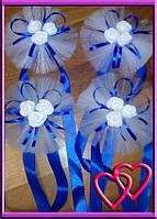 Свадебное украшение на ручки машины три мини розочки, одинарный фатин Синий