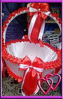 Свадебные корзинки для лепестков 4 банта Красный