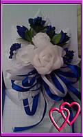"""Свадебные бутоньерки для жениха или свидетеля """"Три розы"""" Синий"""