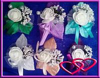 """Свадебные бутоньерки для жениха или свидетеля """"Одна блестящая роза"""""""