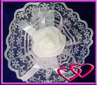 """Свадебные бутоньерки для свидетельниц на руку""""Роза в кружеве"""", цвета в ассортименте Белый"""