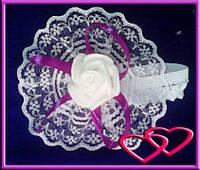 """Свадебные бутоньерки для свидетельниц на руку""""Роза в кружеве"""", цвета в ассортименте Фиолетовый"""