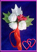 """Свадебные бутоньерки для жениха или свидетеля """"Розы в листьях""""№2 Красный"""
