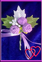 """Свадебные бутоньерки для жениха или свидетеля """"Розы в листьях""""№2"""