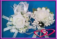 """Свадебный набор бутоньерок для свидетелей """"Молочная роза"""""""
