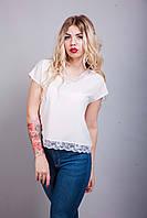 Стильная нарядная женская летняя блуза молочного цвета