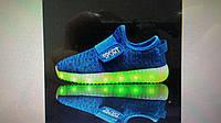 Детские светящиеся LED кроссовки на липучке цветные (размер 28-37)