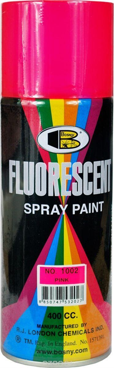 Акриловая флуоресцентная краска спрей BOSNY NO. 1002 PINK (розовый), 400мл