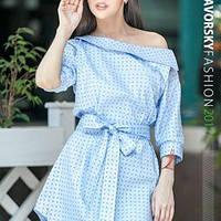 Модное платье ГРЕЙС в морском стиле цвет голубой