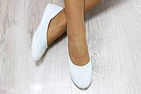 Балетки кожаные белого цвета