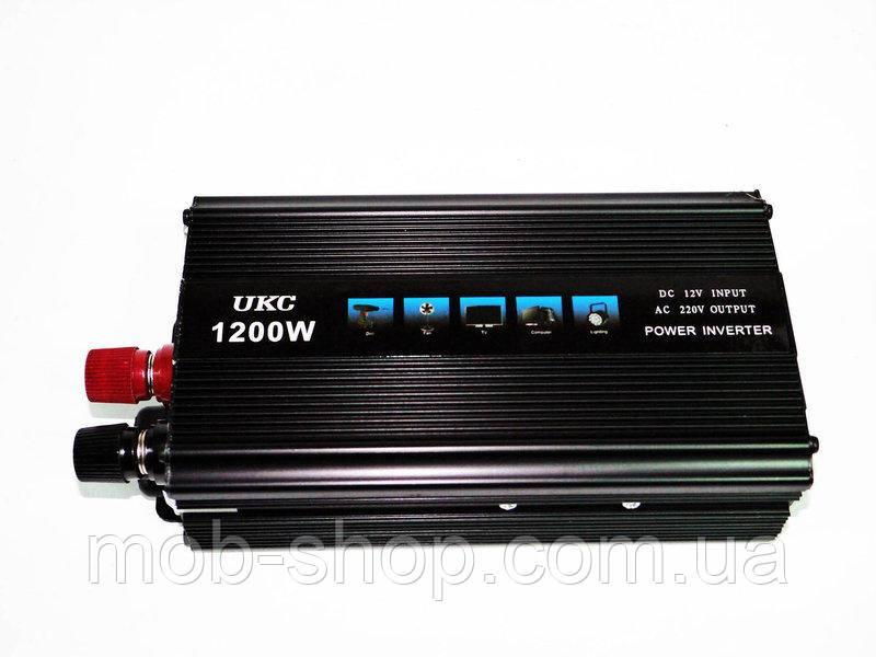 Инвертор преобразователь напряжения Power Inverter UKC 1200W 12V в 220V