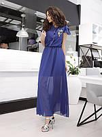 Женское шифоновое платье синее