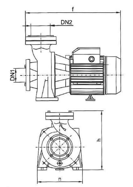 Поверхностный бытовой насос Euroaqua NFm130A размеры