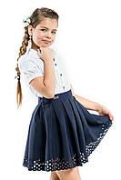 Школьная юбка с перфорацией для девочки.Синий.