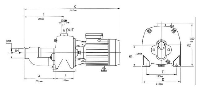 Поверхностный бытовой насос Euroaqua JA150 (2 крыльчатки) размеры