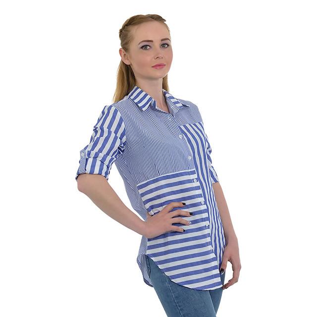 Летняя синяя женская рубашка в полоску