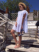 Женское свободное платье-туника с рюшами белого цвета. Ткань: хлопок. Размер: универсальный смлхл.