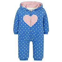 Утепленный демисезонный комбинезон для девочки с 9 месяцев до 2 лет (полиэстер, синтепон, хлопок) ТМ Jumping Beans