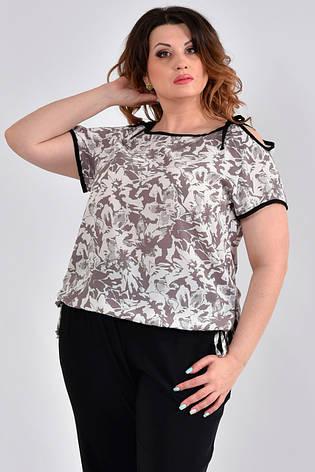 Летняя блузка из креп-шифона большие размеры 0527 беж, фото 2