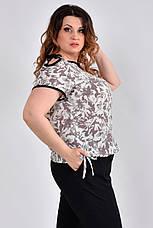 Летняя блузка из креп-шифона большие размеры 0527 беж, фото 3