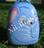 "Детский чемодан 16"" на колесах Animals голубой"