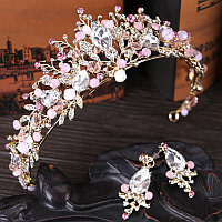 Тиара диадема и серьги набор корона НОИР модная, украшения для волос