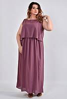 Сливовое платье plussize из шифона 0532