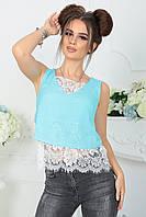 Блуза-топ Беата бирюзовая