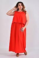 Красное платье plussize из шифона 0532