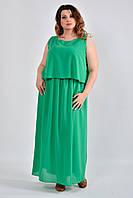 Зеленое платье plussize из шифона 0532