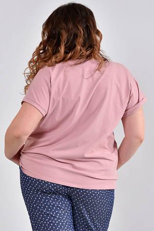 Женская футболка для полных 0537 розовая, фото 2