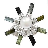 Жемчуг белый и турмалин, серебро 925, кольцо, 491КЖ