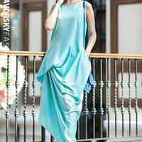 Платье АМУР с фактурными защипами цвет голубой