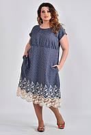Летнее платье больших размеров с карманами 0539 бантики