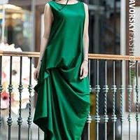 Стильное платье АМУР с фактурными защипами цвет зеленый
