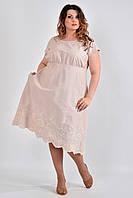 Летнее платье больших размеров с карманами 0539 бежевое