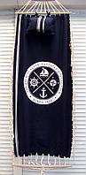 Гамак тканевой подвесной для отдыха, с подушкой синий