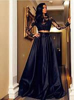 Длинное платье-костюм в пол с верхом из французского кружева и пышным низом
