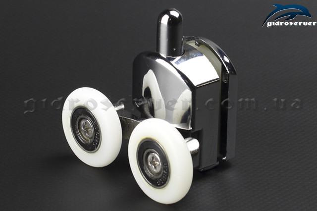 Ролики для душевой кабины, гидробокса M-02A нижние с кнопкой, колеса от 19 до 27 мм.