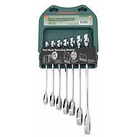 Набор ключей комбинированных трещоточных, 72 зубца, 10-19мм, 7 предметов Jonnesway W45107S