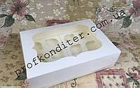 Коробка Белая, уплотненная для 12-ти кексов с окном340*250*90