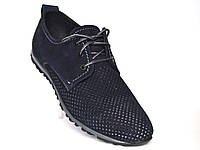 Большой размер летние кроссовки мужские в сеточку с нубука Rosso Avangard BS ANBlu синие, фото 1